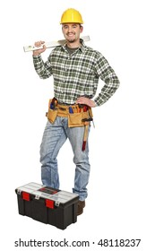 young standing manual worker and tools isolated on white