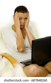 young stressed out woman working with laptop