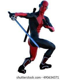 a young strong man in a red and black full latex suit. He's standing half sideways to the camera. In his right hand a sword to block the blow. 3D rendering, 3D illustration