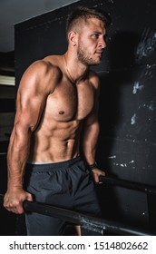 Young strong sweaty muscular fit man doing dip cross workout training in the gym for triceps and chest muscles real people