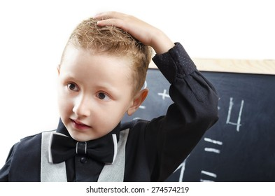 young student at the blackboard