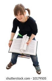 The young student with the book isolated on a white background