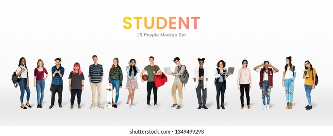 Young student character mockups set