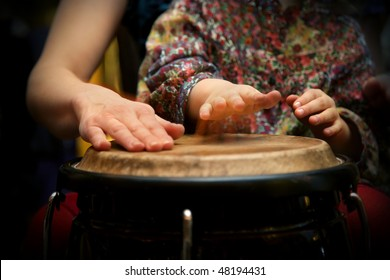 young student at drum class
