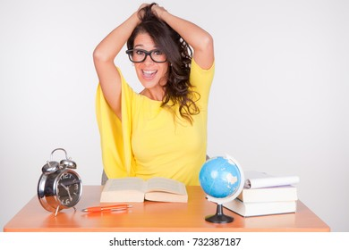 young student in funny pose
