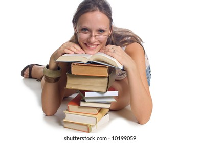 Young student girl with books on white