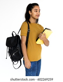 Young student girl holding school textbook