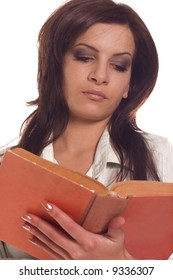 Young student girl reading book on white backgrounds