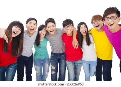 young student group  with arms around each others shoulders
