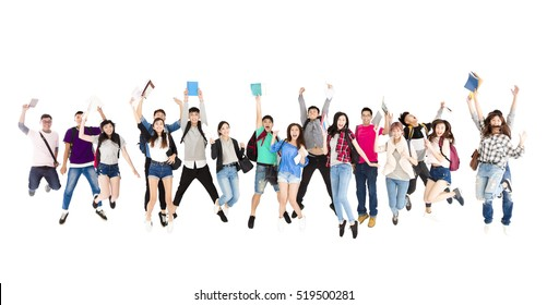 young student group  jumping people isolated on white