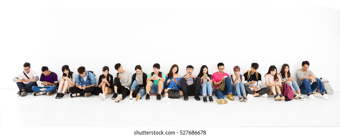 young student Group watching smart phone