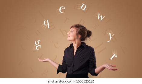 Young student juggle with letters