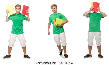 Young student with notes isolated on white