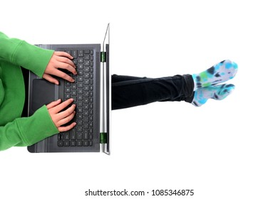 young student on a laptop computer doing homework isolated white background