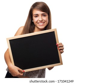 young student woman holding a chalkboard isolated on white