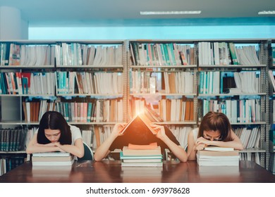 Young Students Group Reading Book Serious, Hard Exam, Quiz, Test Sleeping  headache worry in Classroom Education Library University Knowledge center