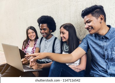 Young students team studing with a laptop