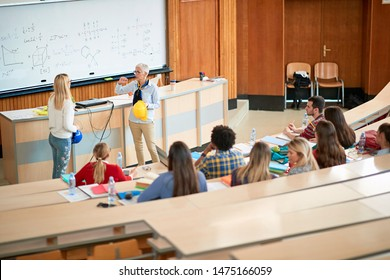 Young students in university engaged in education.