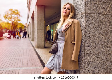 Young stylish magnificent elegant woman posing in the street at European town, autumn spring season, elegant cashmere beige coat and feminine dress, toned warm colors.
