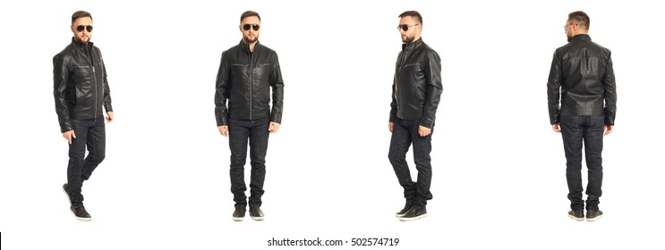 Young stylish man in a leather jacket isolated