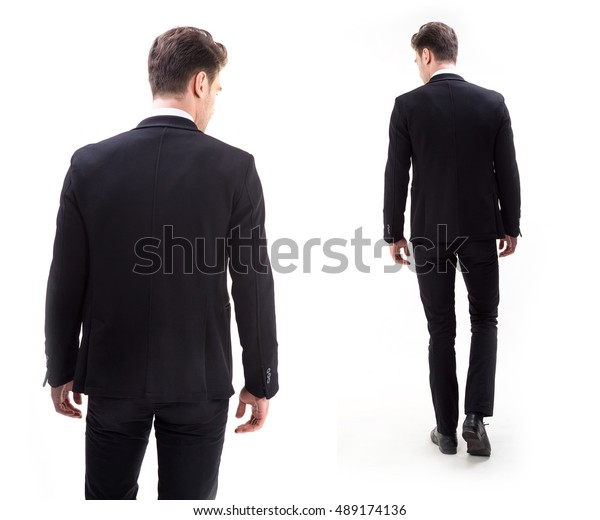 Young stylish man in a suit. Rear view from the back.