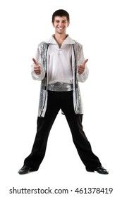 Young and stylish modern ballet dancer with thumbs up gesture, isolated on white background in full length.