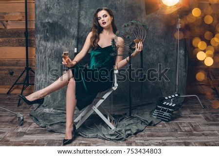 5ca257ade2c6 Young Stylish Sexy Woman Sitting Chair Stock Photo (Edit Now ...