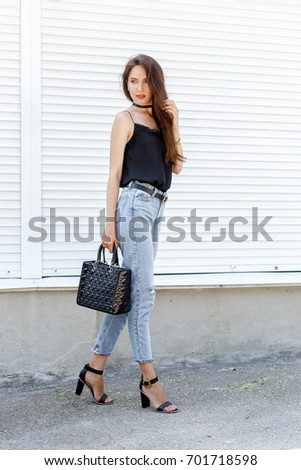 4fee7ded4c335 Young Stylish Woman Wearing Black Cami Stock Photo (Edit Now ...