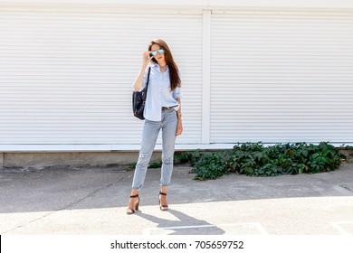 2f302ffd38f2f Young stylish woman wearing blue shirt