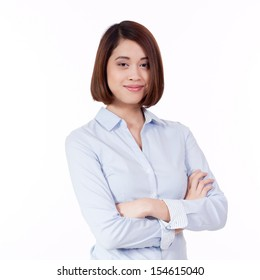young successful attractive asian businesswoman with blue shirt isolated