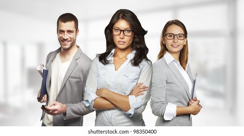 Young and successful business team in an office
