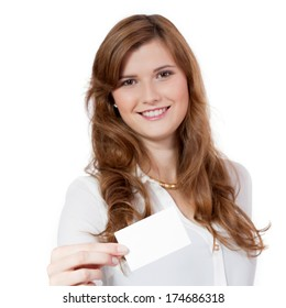 young successful businesswoman  with blank business card isolated
