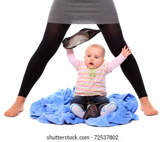 Young successful businesswoman with here little baby - close up. Motherhood metaphor.