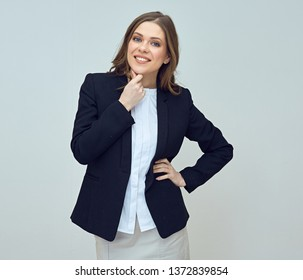 03f52b29602a Young successful businesswoman with long hair wearing black suit. isolated  studio portrait.