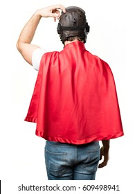 young super hero back