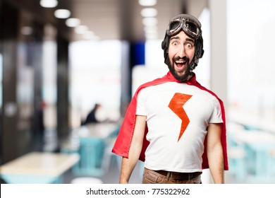 young super hero surprised expression