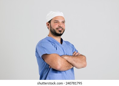 Young Surgeon in Clinical Outfit Isolated on White Background