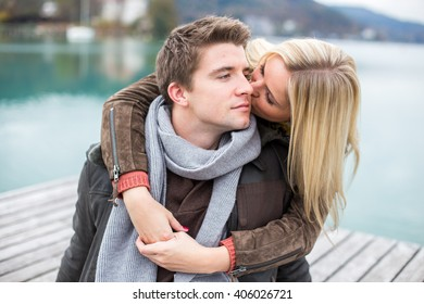 Young sweet attractive european white couple totally in love and enjoying the time together