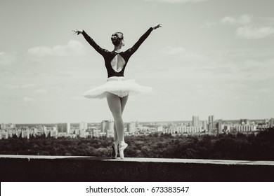 Young sweet fairy ballerina Inspires people and shows the beauty of body movement