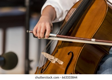 young talent boy plays cello