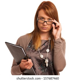 Young teacher with folder in her hands isolated over white