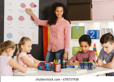 Young teacher presenting weather words on spanish classes
