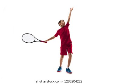 Young teen boy tennis player in motion or movement isolated on white studio background. The sport, exercise, training concept