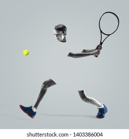 Young teen boy tennis player in sportswear in motion or movement isolated on studio background. Teenager with racket. Sport, action, healthy lifestyle, advertising concept. Abstract design.