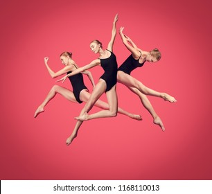 Young teen dancer dancing on red studio background. Ballerina project with caucasian model. The ballet, dance, art, contemporary, choreography concept