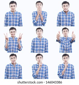 young teen face expressions composite isolated on white background