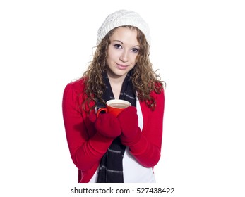 Young teen girl drinking hot coffee isolated on white background