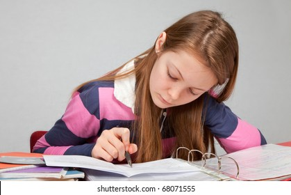 Young Teen Girl at Study