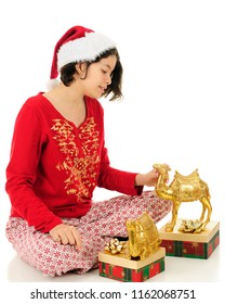 A young teen in a Santa hat and Christmas pajamas looking over two gold camel figurines.  On a white background.