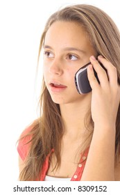 young teen talking on the phone